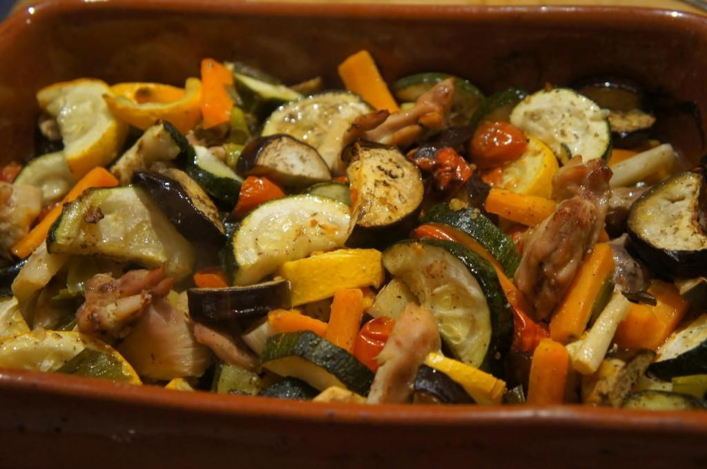 Grillezett zöldséges pirított csirkemell csíkok