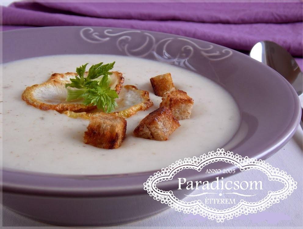 Paradicsom Étterem Zalaegerszeg Menü kép - Zellerkrém leves füstölt tarjával, krutonnal