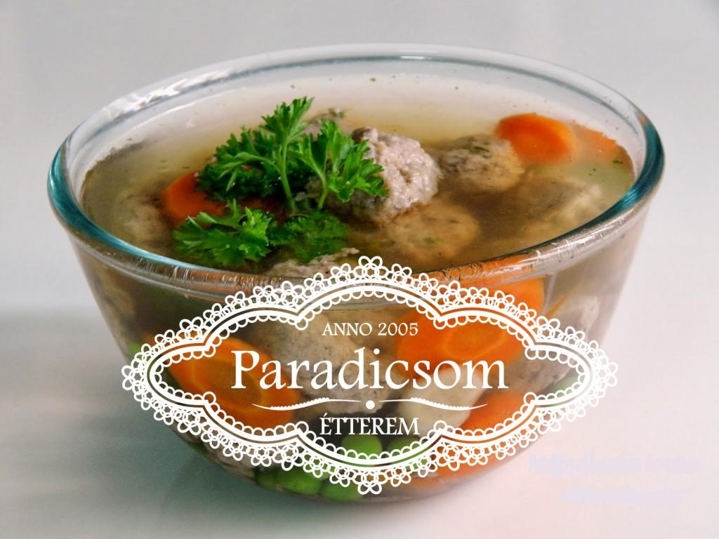 Paradicsom Étterem Zalaegerszeg Menü kép - Májgaluska leves